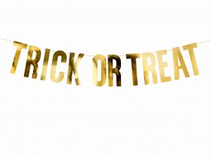 baner Trick or Treat złoty 12x80 cm