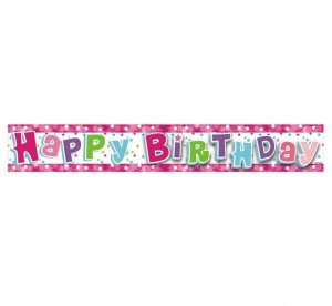 Banner HAPPY BIRTHDAY różowy 1,8 m