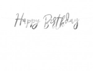 baner HAPPY BIRTHDAY srebrny 16,5x62 cm