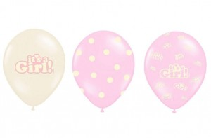 balony BABY SHOWER, roczek It's a Girl 30 cm (3szt)